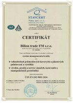 Certifikt ISO 9001 česky
